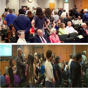 Two views of citizens turning their backs on Brainard at his swearing in ceremony May 6, 2013. (Photo Credit: Demand Rick Brainard Resign Grand Junction Facebook page)